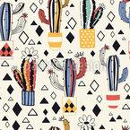 サボテンと菱形 シームレスなベクトルパターン設計