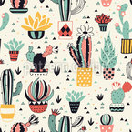 Lovely Cactus in a pot Seamless Vector Pattern Design