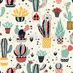 Schöner Kaktus in einem Topf Nahtloses Vektormuster
