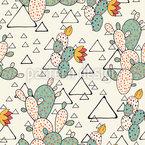 Kaktusfeigen und Dreiecke Nahtloses Vektormuster