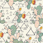 Prickly Pear Cacti and Triangles Seamless Vector Pattern Design
