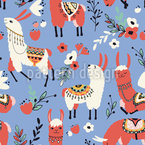 Llamas And Flowers Pattern Design