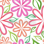 Symmetric Watercolor Flowers Seamless Vector Pattern Design
