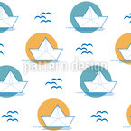 Papierboot fährt in Sonnenuntergang Nahtloses Vektormuster