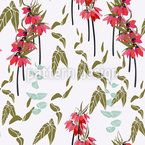 Lovely lilies flowers and leaves Repeating Pattern