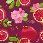 Granatapfel Und Blüte Nahtloses Vektormuster