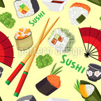 Sushi-Liebe Nahtloses Vektor Muster
