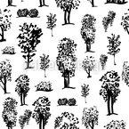 Skizzierte Bäume Nahtloses Vektormuster