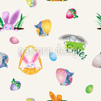 Hiding Easter Bunny Seamless Vector Pattern Design