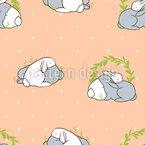 抱きしめるウサギ シームレスなベクトルパターン設計