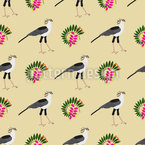 African Birds And Plants Vector Pattern