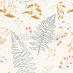 Fern And Rose Hips Design Pattern