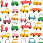 Carros divertidos coloridos Design de padrão vetorial sem costura