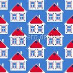 Skandinavische Häuser Nahtloses Vektormuster