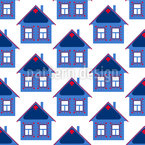 Scandinavian Winter House Seamless Vector Pattern Design