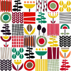 Scandinavian Folk Art Seamless Vector Pattern Design
