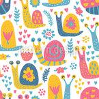 愛らしいカタツムリの仲間 シームレスなベクトルパターン設計