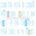 Old Houses of Amsterdam Vector Ornament