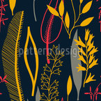 Leaves Silhouettes Black Repeating Pattern