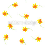 Delicate Narcissus Seamless Vector Pattern Design