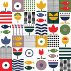 Sea Patchwork Seamless Vector Pattern Design