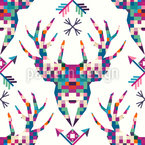 Pixel Deer Head Seamless Vector Pattern Design