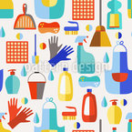 Cleaning Products Seamless Vector Pattern Design