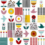 Birds Patchwork Seamless Vector Pattern Design