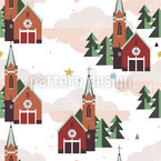 Flat Design Church Seamless Vector Pattern Design