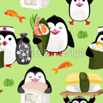 Sushi Penguins  Seamless Vector Pattern
