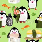 Sushi Pinguine Nahtloses Vektor Muster