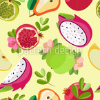 Colorful Fruit Bowl Seamless Vector Pattern Design