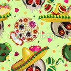 Mexikanische Sugar Skulls Nahtloses Vektormuster