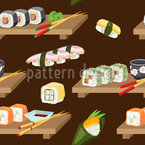 Japanese Lunch Time Seamless Vector Pattern Design