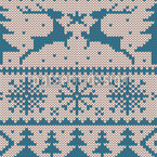Knitted Deer Crossing Blue Seamless Vector Pattern Design