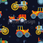 Retro Tractors Seamless Vector Pattern Design