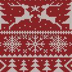 Knitted Deer Crossing Seamless Vector Pattern Design