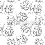 Peony Picking Seamless Vector Pattern Design