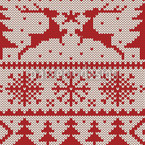 Knitted Deer Crossing White Design Pattern
