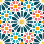 Arabic Circle Star Tiles Seamless Vector Pattern Design