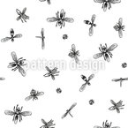 Insects Swarm Seamless Pattern