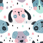 Funny Shaped Dog Faces Seamless Vector Pattern Design