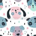 Lustig Geformte Hundegesichter Nahtloses Vektormuster