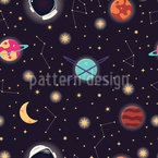 Ein Weltraum Oddyssee Nahtloses Vektormuster