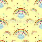 Kitty Cat Rainbow Seamless Vector Pattern