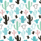 Menthol Cactus Seamless Vector Pattern
