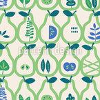 Birnen und Blätter Nahtloses Vektormuster