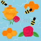 Beschäftigte Bienen Rapportiertes Design