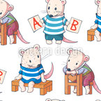 Funny Cartoon Mice Repeating Pattern