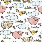 Landwirtschaftliche Tiere Nahtloses Vektormuster